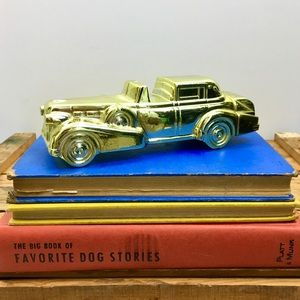 Vintage Gold Car Book Shelf Accent Decor